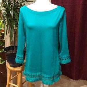 Talbots Kelly Green embellished 3/4 sleeve size M
